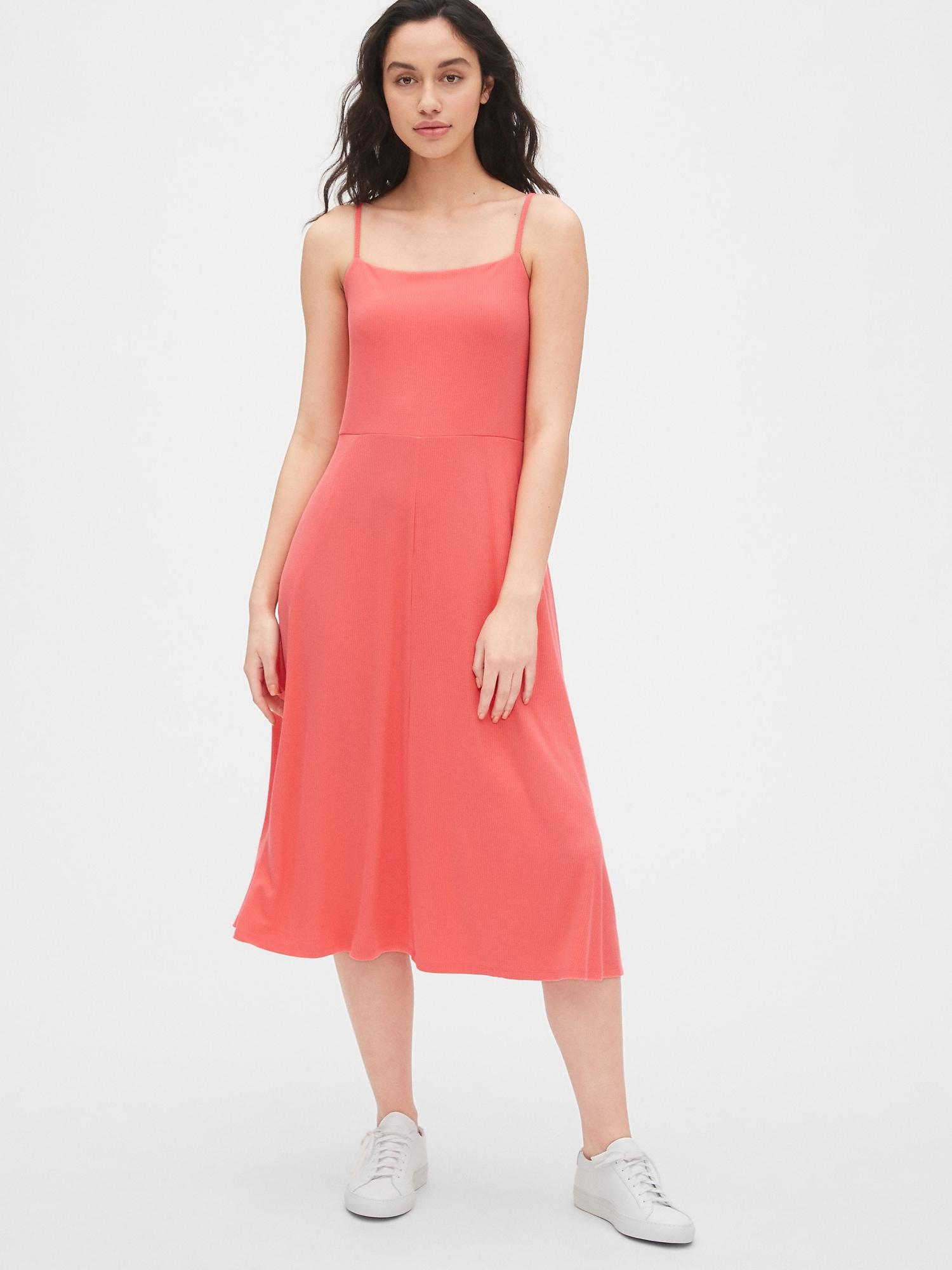 74378a206f Fit and Flare Ribbed Cami Midi Dress | Gap