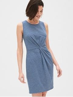 Twist-Front Dress in Slub Jersey