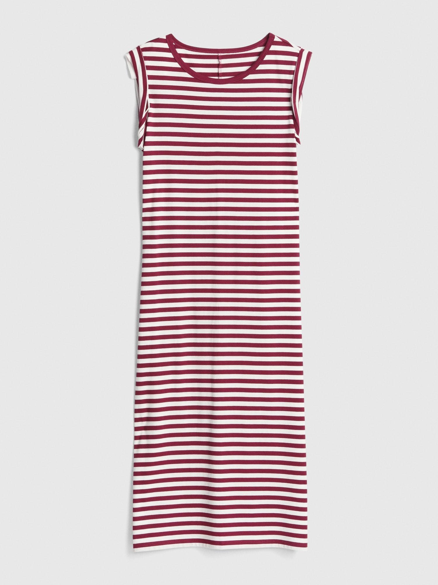 6cb3c0b59c Roll-Cuff Stripe Midi T-Shirt Dress | Gap