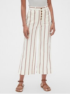 High Rise Mariner Stripe Wide-Leg Chinos