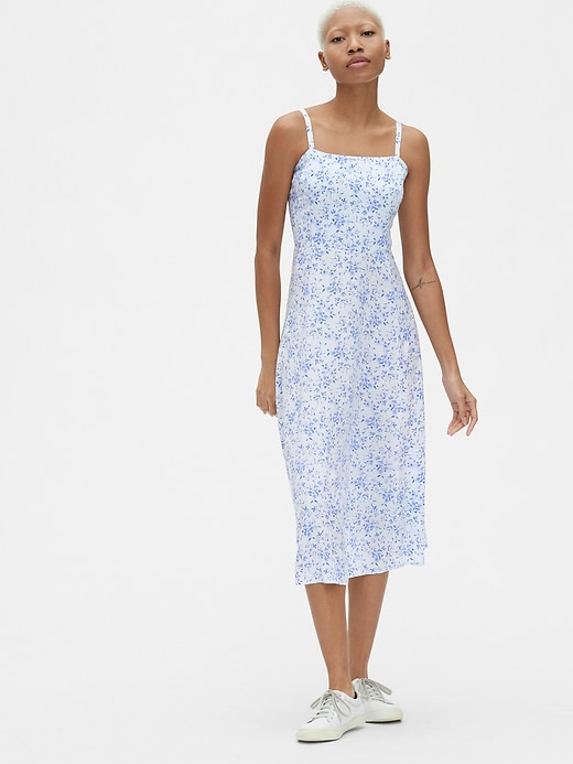 d3943130e425 Print Fit And Flare Cami Midi Dress by Gap