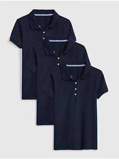Kids Uniform Stretch Short Sleeve Polo Shirt (3-Pack)