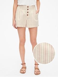 Short plissé à rayures en lin et coton, 9cm