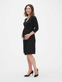 4d29b5ea75ae2 Maternity Three-Quarter Sleeve Wrap Dress | Gap