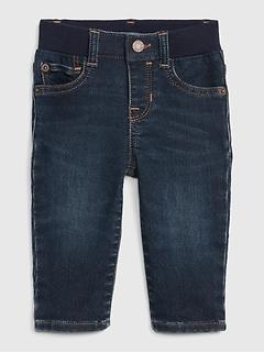 Baby Knit-Denim Straight Jeans