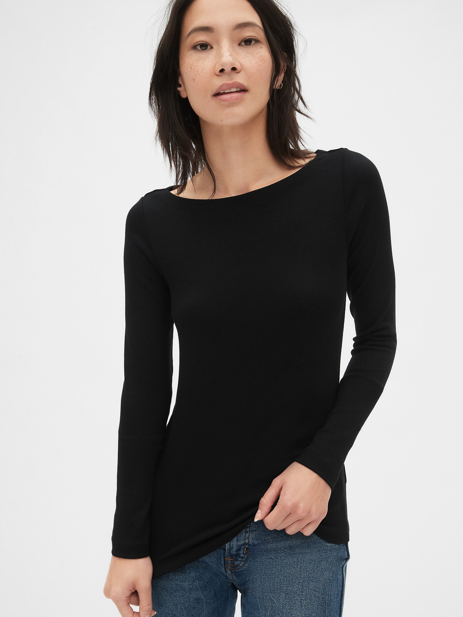 ba731774 Modern Long Sleeve Boatneck T-Shirt | Gap