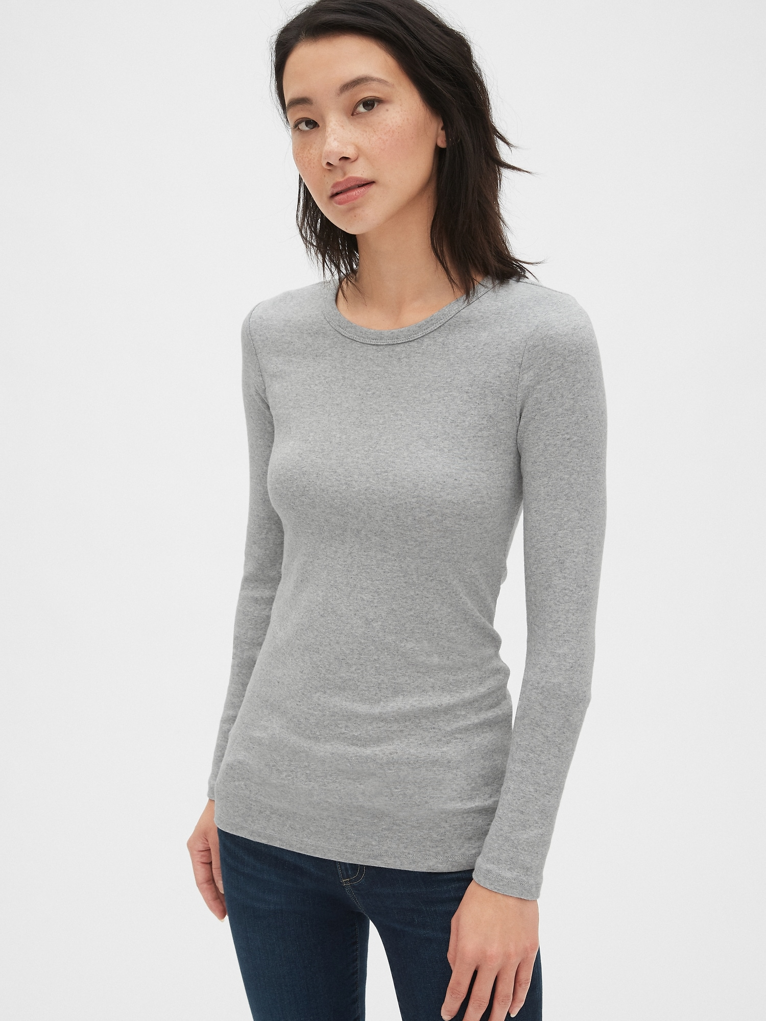 232d8588ef52 Modern Long Sleeve Crewneck T-Shirt | Gap