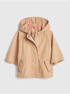 Toddler Canvas Hoodie Poncho Jacket