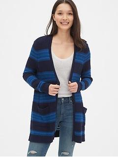 Longline Stripe Open-Front Cardigan Sweater