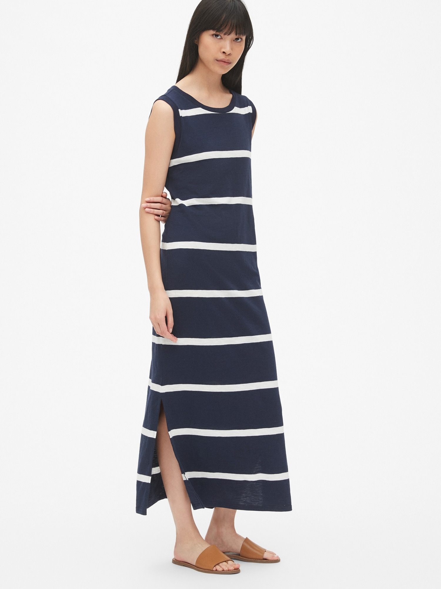 Dept Maxi Jurk.Soft Slub Stripe Maxi Dress Gap