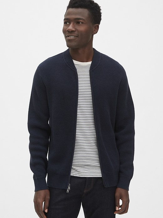 Textured Full Zip Bomber Sweater by Gap