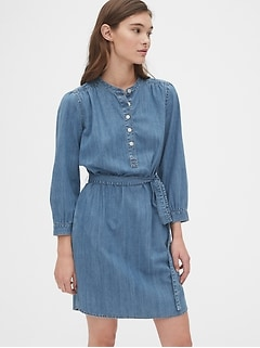 Shirred Popover Denim Shirtdress