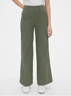 High Rise Button-Fly Wide-Leg Chinos