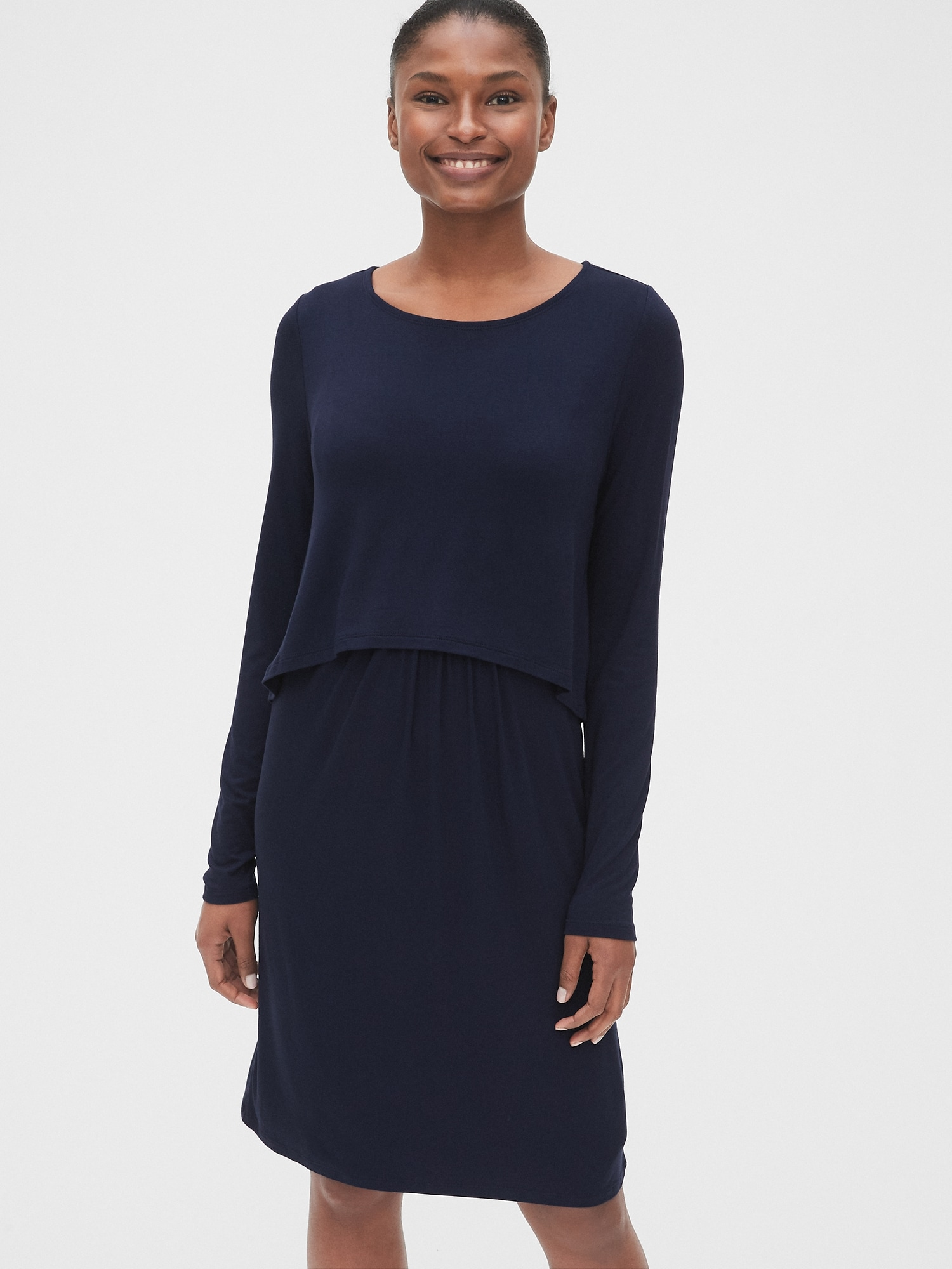 online store best outlet store sale Maternity Long Sleeve Layered Nursing Dress | Gap