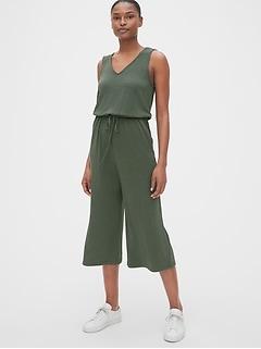 Softspun V-Neck Wide-Leg Crop Jumpsuit