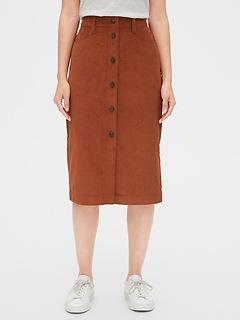 Corduroy Button-Front Midi Skirt