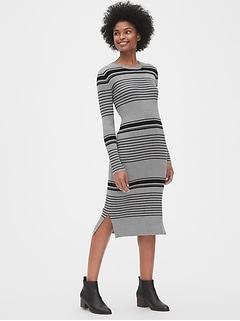 Ribbed Crewneck Midi Sweater Dress