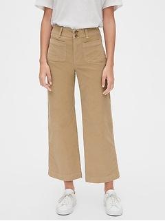 Pantalon en velours côtelé à jambe large et à taille haute