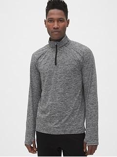 Pull-over Fit en jersey brossé avec glissière au quart
