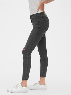 Mid Rise Curvy Distressed True Skinny Ankle Jeans