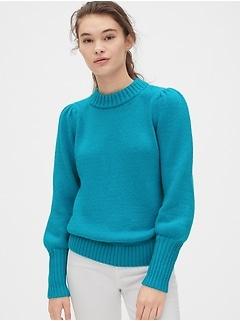 Puff Sleeve Crewneck Sweater
