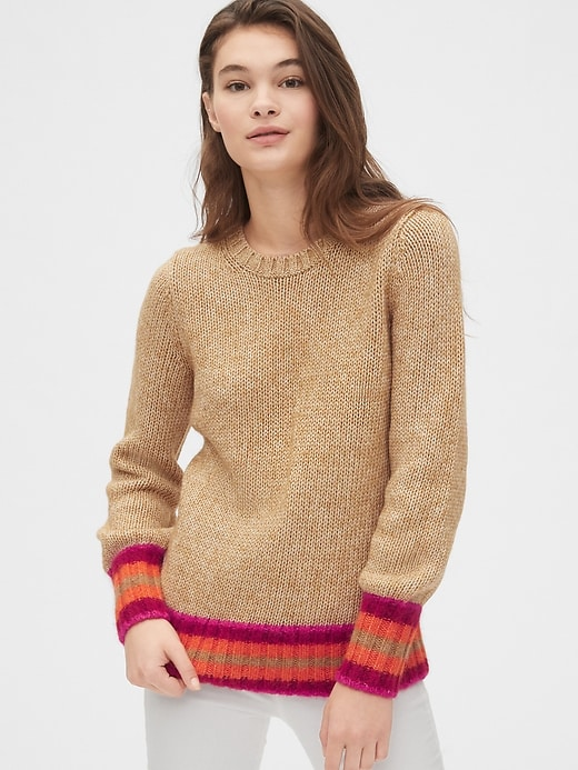 Stripe Cuff Crewneck Sweater by Gap