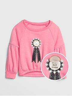 Toddler Graphic Balloon Sleeve Sweatshirt