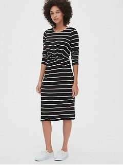 Softspun Stripe Twist-Knot Midi Dress