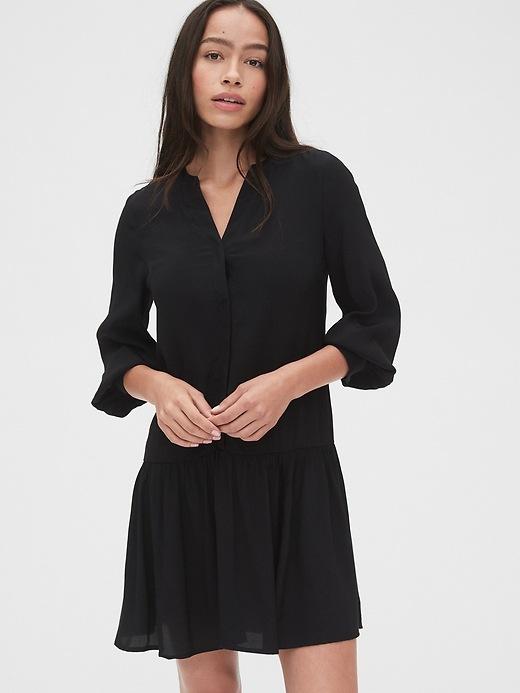 Split Neck Drop Waist Dress by Gap