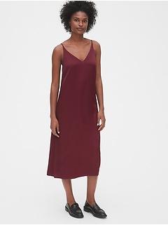 Satin Cami Midi Slip Dress