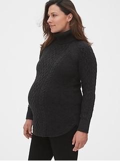 Pull de maternité en tricot côtelé à col roulé