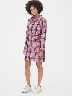 Plaid Ruffle-Neck Popover Shirtdress