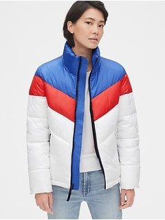 ColdControl Max High Shine Colorblock Puffer Jacket