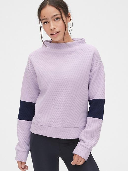 Gap Fit Colorblock Jacquard Quilted Mockneck Sweatshirt by Gap