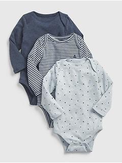 Cache-couche uni à manches longues Favori pour bébé (paquet de trois)