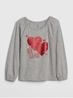 Toddler Glitter Heart Puff-Sleeve T-Shirt