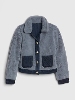 Kids Reversible Sherpa Denim Jacket