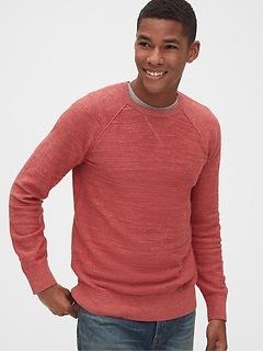 Slub Cotton Raglan Crewneck Sweater