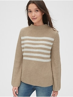 Stripe Bell-Sleeve Sweater