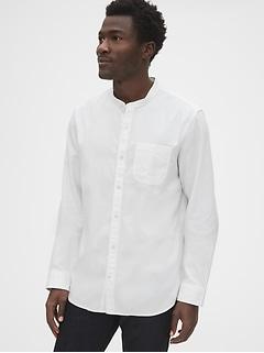 Chemise texturée indigo à col à bande