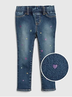 Toddler Glitter Print Jeggings with Stretch