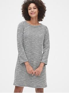 Robe évasée en tweed à chevrons avec poche à glissière