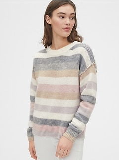 Relaxed Wool-Blend Stripe Crewneck Sweater