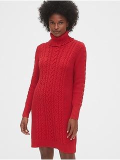Cable-Knit Turtleneck Dress