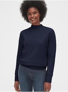 Mockneck Puff-Sleeve Sweatshirt