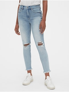 High Rise Destructed True Skinny Ankle Jeans with Secret Smoothing Pockets