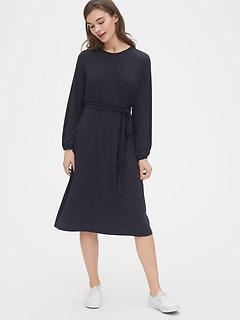 Tie-Waist Midi Dress in TENCEL™
