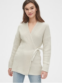 Ribbed Wrap Cardigan Sweater