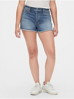 High Rise Cheeky Denim Shorts with Raw Hem