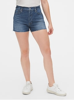 High Rise Cheeky Denim Shorts with Raw Hem